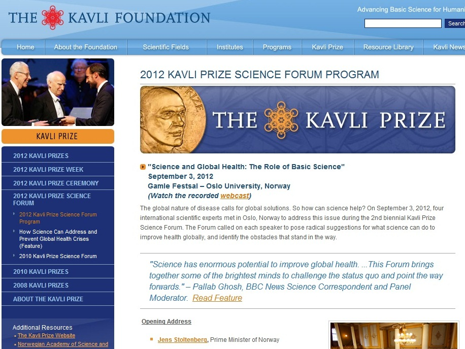 2012 Kavli Prize Ceremony and Kavli Prize Science Forum Participation Report